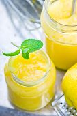 stock photo of curd  - the lemon curd and products for his preparation - JPG