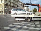 Metallic Car Is Taken Away In Vienna