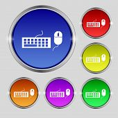 Computer Keyboard And Mouse Icon. Set Colourful Buttons. Vector