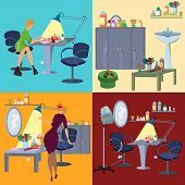 Beauty Salon Spa Flat People And Furniture