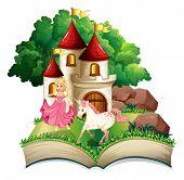 Illustration of a princess and unicorn book