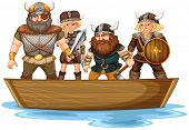 stock photo of viking ship  - Illustration of many vikings on a boat - JPG