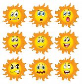 Illustration of a set of sun with facial expressions