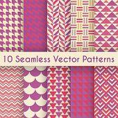 Abstract retro seamless pattern set. Vector illustration