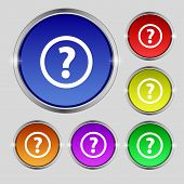 Question Mark Sign Icon. Help Speech Bubble Symbol. Faq  Set Colour Buttons Vector