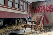 pic of wagon  - Rusty train wagons in a train station near Bucharest waiting insurance evaluation - JPG