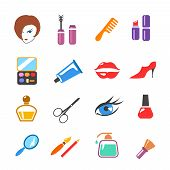 beauty  and make up vector colored icons