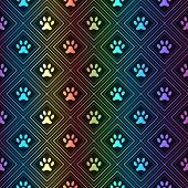Seamless animal spectrum pattern of paw footprint