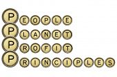 sustainable business concept - people, planet, profit, principles words in old typewriter keys isolated on white