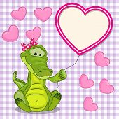 image of crocodile  - Valentine card with Crocodile with heart frame - JPG