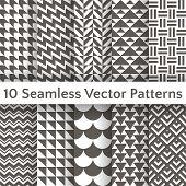 Fashionable geometric seamless pattern set. Vector illustration