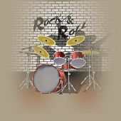 stock photo of drum-kit  - vector illustration drum kit drummer and shadow - JPG