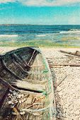 Old Wooden Boat On The Seashore, Retro Image