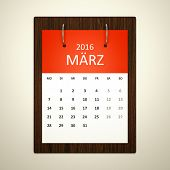 An image of a german calendar for event planning 2016 march