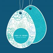Vector blue line art flowers Easter egg shaped tags set template