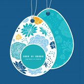 Vector blue and yellow flowersilhouettes Easter egg shaped tags set template