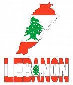 Lebanon map flag and text illustration