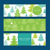 Vector holiday christmas trees horizontal banners set pattern background