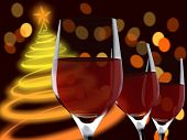 image of christmas party  - Image of a christmas tree and glasses with blur lights - JPG