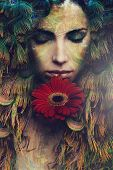 foto of composition  - fantasy beautiful woman portrait with flower - JPG