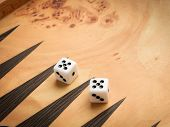 image of dice  - Color detail of a Backgammon game with two dice close up - JPG
