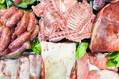 Butchery Display With Choice Of Different Meats