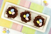 Chocolate Easter nests overhead view