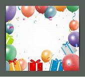 Birthday background with balloons and gift box