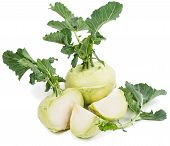pic of kohlrabi  - Whole and slices of kohlrabi isolated on white background - JPG