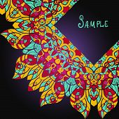 Beautiful card with mandala. Ethnic paisley ornament with copyspace
