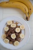Waffles with bananas and chocolate