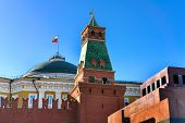 foto of lenin  - The Mausoleum of Lenin Kremlin wall tower and flag on the Red Square Moscow Russia - JPG