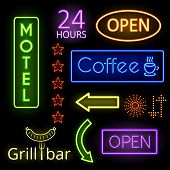 stock photo of motel  - Set of neon glow signs - JPG