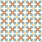 Orange And Blue Abstract Rectangle And Arrow And Circle Shape Seamless Pattern
