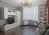3d render of apartment living room