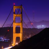 Sf Golden Gate Bridge And Sutro Tower At Night