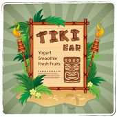 foto of tiki  - Vector Retro Tiki bar sign for your business - JPG