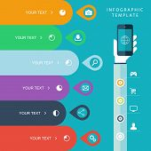 Info graphic template with hand holding phones for marketing plan, sales chart illustration.