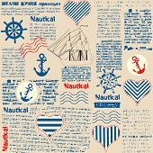 image of newspaper  - Imitation of newspaper in nautical style with grunge elements - JPG