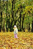 Girl Playing In Autumn Park