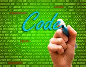 Code Password Login Virus Hackers Hand Binary Text