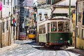 pic of tram  - Vintage tram in the city center of Lisbon  - JPG