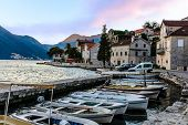 Tiny Port In The City Of Perast, Montenegro