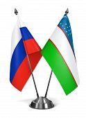 Russia and Uzbekistan - Miniature Flags.