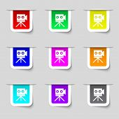 Video Camera Sign Icon content Button. Set Colourful Buttons. Vector