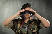 Female Soldier With Binocular
