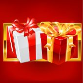 Red and white gift vector.