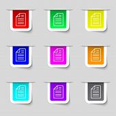 Text File Sign Icon. File Document Symbol. Set Of Coloured Buttons. Vector