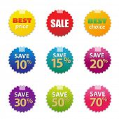 Colorful Sale Tags Set With Gradient Mesh, Vector Illustration