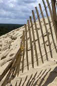 The Famous dune of Pyla fences, the highest sand dune in Europe, in Pyla Sur Mer, France.